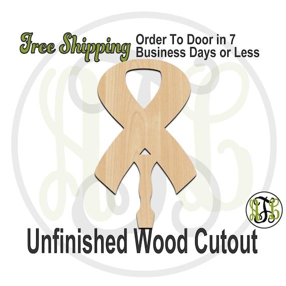 Awareness Ribbon Paddle Sign- 3400021- Cutout, unfinished, wood cutout, wood craft, laser cut shape, wood cut out, DIY, Free Ship