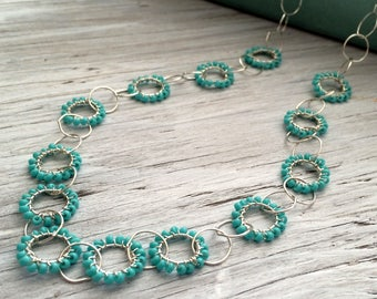 Sterling Silver Beaded Necklace- Turquoise seed bead chain necklace