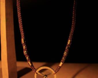Burgundy necklace brass beads and Bronze main Piece: clockwork