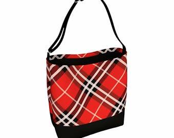 Everyday Womens Bag - Waist Bag - Cross Body Bag - Bum Bag - Bags and Purses - Messenger Bag Women - Red Tartan Tote - Bookbag