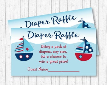 Cute Sailboat Diaper Raffle Tickets / Sailboat Baby Shower / Nautical Baby Shower / Baby Boy / Baby Shower Raffle / INSTANT DOWNLOAD A103