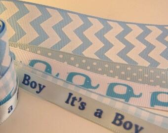 5 Yards Variety Blue Ribbon Baby Boy Ribbon Blue Elephant Ribbon Blue Chevron Ribbon Blue Polka Dot Ribbon Baby Shower Ribbon
