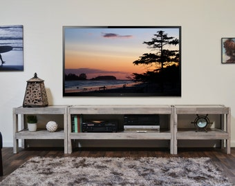 Gray Coastal TV Stand Entertainment Center Beach House Console - presEARTH Driftwood