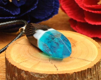 Necklace. Wood Pendant. Wood and resin pendant. Nature Inspired. Wood Jewelry