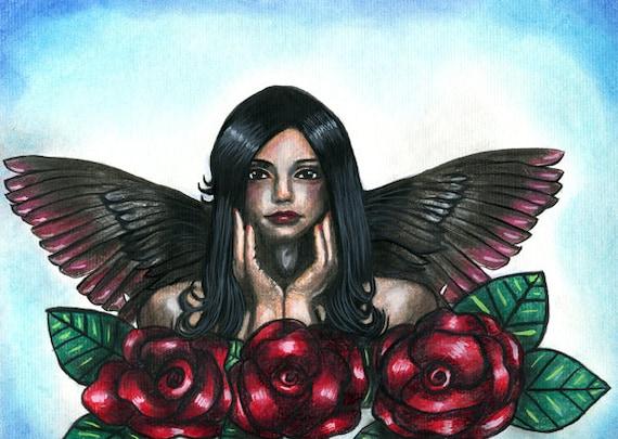 dark hair Angel woman red roses original art drawing colored pencil pastels tattoo art black and red wings modern drawings Elizavella