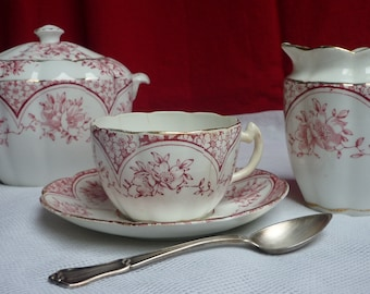 Cup - Creamer - sugar bowl from the 19th century - W & H - Made in Brussels - romantic