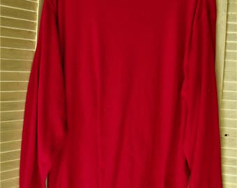 Size 42-44 Red Knit Top/ Retro Knit Stretch/ Poly-Cotton-Spandex/ Holiday Red/ Thrifted Couture/ WhiteStag Women's Plus/ Shabbyfab Holiday