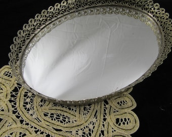 Vintage Gold Filigree Vanity Tray Mirrored Perfume Tray Oval Cottage Chic French Mid Century Style Home decor
