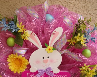 XL Deco Mesh Easter Wreath, Front door wreath, Anywhere wreath, Must See to Appreciate!!!