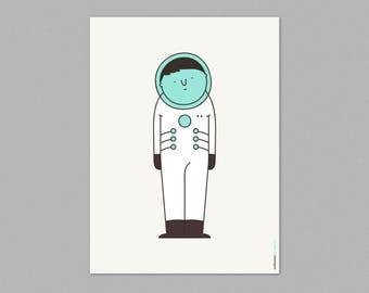 Illustration, Print, Astronaut, Cute, Cartoon characters, Wall art, Art decor, Hanging wall, Printed art, Decor home, Gift idea, Sweet home.