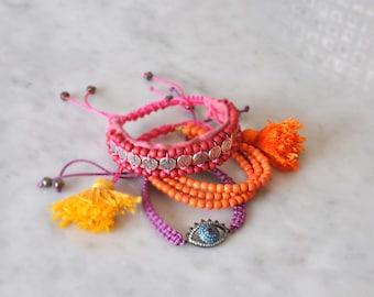 Boho Tassel Bracelets,  Silver Charm Bracelet,  Evil Eye Macrame Bracelet,  Set of 3,  Free Shipping