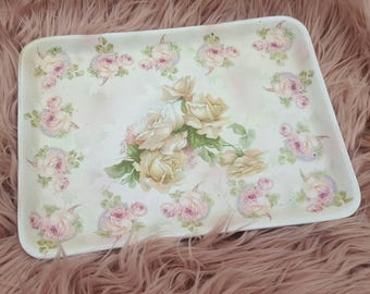 Royal bayreuth Dresser vanity tray tapestry roses china year 1900 vintage shabby chic victorian porcelain