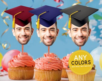 Graduation Hat Cupcake Toppers, Graduation Party Decorations, Personalized Graduation Hat Photo Cupcake, Graduation Cap Toppers, Digital