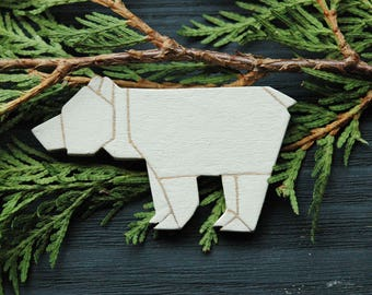 Polar bear brooch, white origami brooch, origami pin, nature inspired gift, bear jewelry, unique gift for her, gift for women, best friend