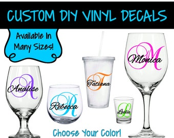 VD0004 - DIY Wine Glass Decal - Single Letter & Name Decal - Bridal Party Decals - Tumbler Decals