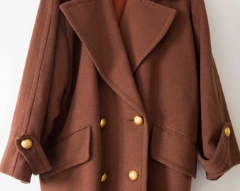 coat jacket M/L Brown ELECTRA lambswool cashmere made in france