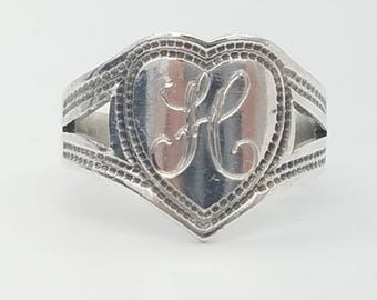 "Vintage Sterling Silver Heart Ring Engraved ""JC"" or ""H""- Size 4"