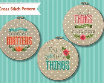 INSTANT DOWNLOAD Tiny Modernist Sweet Sayings PDF counted cross stitch patterns