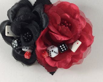 Lucky Gina's Rose Hair Fascinator with Black Roses/Lucky Dice/Lucky Cards/Hair Clip/Pin Up Hair Accessory/Rockabilly/Viva Las Vegas