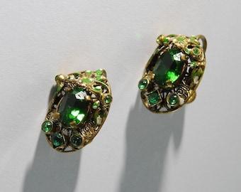 1930s  Made in Czechoslovakia Green Glass Enamel Earrings