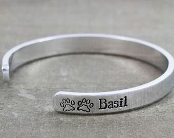 Personalized Pet Memorial Bracelet - Sympathy Gift for Loss of Pet - Sterling Silver or Aluminum Cuff - 10% Donated to Animal Rescues