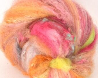 Farm Wool Art Batt for Spinning and Felting Fiber Fleece Textured Chunky Colorway- Sari