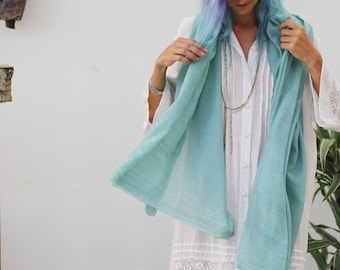 Light Mint Cotton Scarf, Womens Gift Ideas, Mint Scarf, Summer Scarf, Boho Chic Fashion, Scarf Gift For Mom, Lightweight Scarf, Spring Scarf