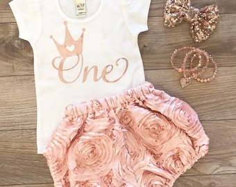 Rose gold rosette first birthday outfit set
