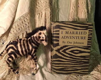 I MARRIED ADVENTURE Antique Travel Book with Vintage Zebra Toy Decor Real Fur