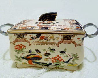 Antique Art Deco Derby Tureen With Handles and Lid