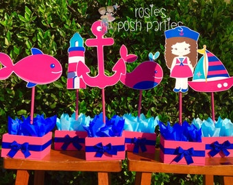 Nautical Girl Baby Shower Birthday Centerpieces for Guest Table or Cake Table Nautica birthday Baby Shower Nautica party decor centerpieces
