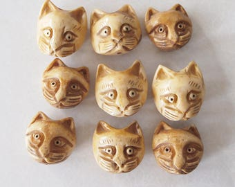 1 Bone Hand Carved Cat Head Bead Or Charm Antique Colour Size 23 x 22mm