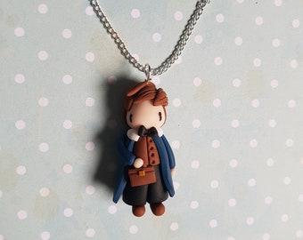 """Necklace little boy """"chestnut brown dress / blue"""" (Norbert)"""