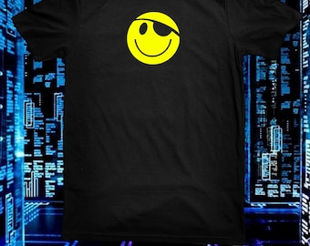 Hack The Planet Pirate Smiley Face Eyepatch T Shirt