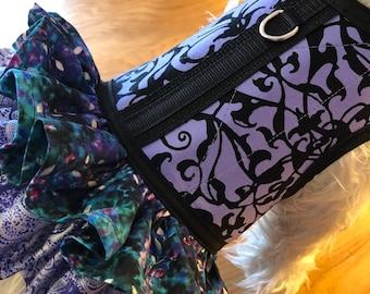 Lavender trellis double ruffle, Small Dog Harness Made in USA, dog harness, dog harnesses