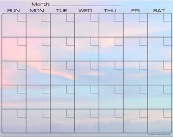 Sunrise Sky in Pink Blue Green Dry Erase Monthly Calendar Fridge Magnet #3591