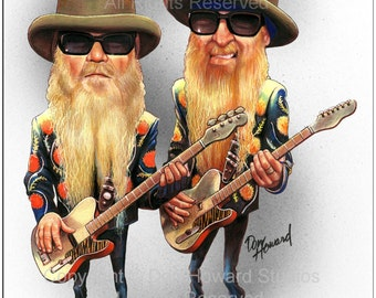 Don Howard Depiction of ZZ Top Limited Edition Celebrity Caricature