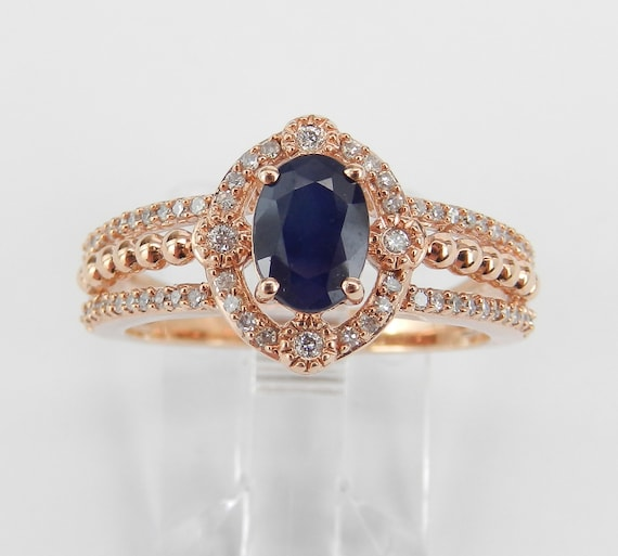 Rose Gold Diamond and Sapphire Halo Engagement Promise Ring Size 7 September Birthstone