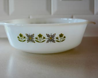 Vintage Anchor Hocking Fire King #433 Green Meadow Casserole Baking Dish