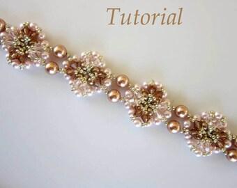 PDF beaded bracelet tutorial - seed bead Swarovski crystal pattern - браслет бисер жемчуг