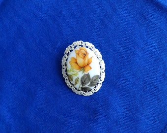 Vintage, Porcelain, Rose Brooch