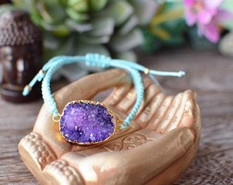 Amethyst Druzy with Turquoise Macrame Bracelet