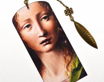 Bookmark with Bronze Pendant - Painting - Art - Leonardo Da Vinci - Handmade