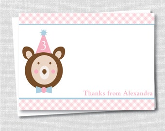 Pink Teddy Bear Notecard - Teddy Bear Party Thank You - Digital Design or Printed Notecards - FREE SHIPPING