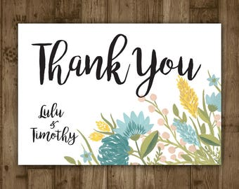 Wedding Thank You Card - Blue Watercolor Flowers