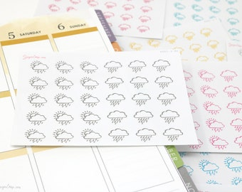 Rain, Scattered Showers, Light Rain, Weather Planner Stickers, 30 Rainy Weather Stickers, Hand Drawn Weather Icons, Weather Trackers, WBM5