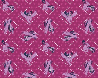 My Little Pony Fabric MLP Fabric Twilight Sparkle in Fuchsia From Camelot 100% Cotton