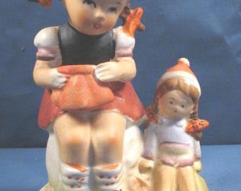 Vintage Stauffer Ceramic Girl Figurine - Playtime