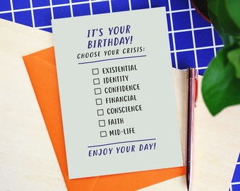 Choose Your Crisis Birthday Card - funny birthday card - birthday card - birthday card for friend