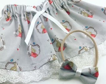 Peter rabbit skirt set including hair bow